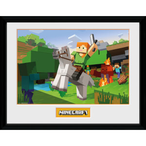 Minecraft Zombie Attack 12 x 16 Inches Framed Photograph