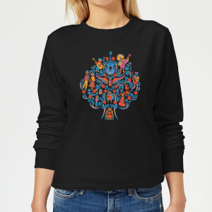 Coco Tree Pattern Women's Sweatshirt - Black