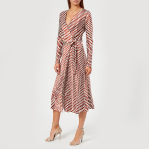 Diane von Furstenberg Women's Long Sleeve Midi Woven Wrap Dress - Baker Dot Small Sienna