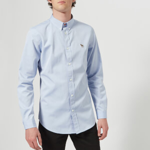 PS by Paul Smith Men's Tailored Fit Long Sleeve Oxford Shirt - Blue