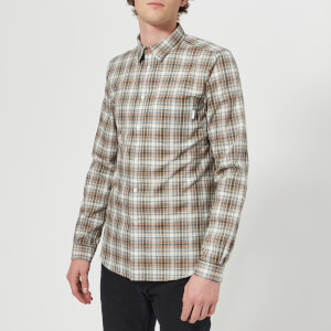 PS Paul Smith Men's Slim Fit Long Sleeve Check Shirt - Grey Melange