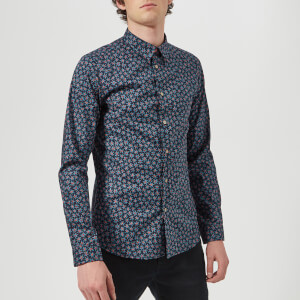 PS by Paul Smith Men's Floral Long Sleeve Shirt - Indigo