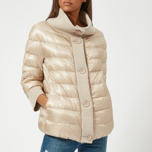 Herno Women's Short 3/4 Sleeve Quilted Jacket with Knit Collar - Beige