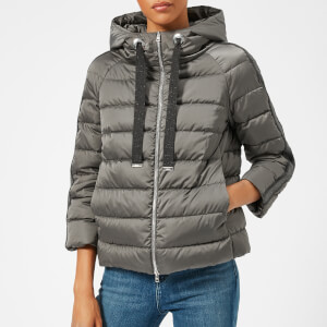 Herno Women's Short Satin Hooded Coat - Grey