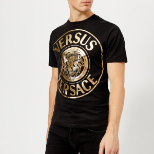 Versus Versace Men's Round Logo T-Shirt - Black/Gold
