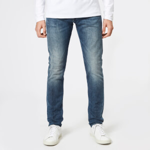 Edwin Men's ED-85 Slim Tapered Drop Crotch Red Listed Selvage Denim Jeans - Mission Wash