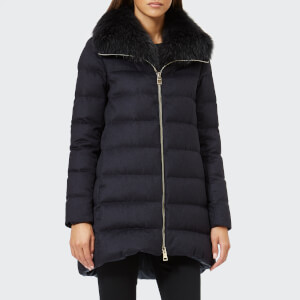 Herno Women's Padded Coat with Fur Collar - Navy