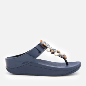 FitFlop Women's Deco Bejewelled Toe Post Sandals - Midnight Navy