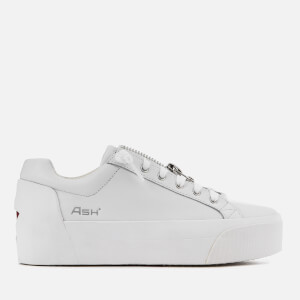 Ash Women's Buzz Leather Flatform Trainers - White/Red