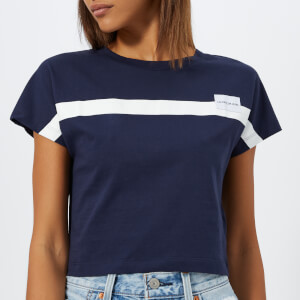 Calvin Klein Jeans Women's Placement Stripe Slim Fit Cropped T-Shirt - Peacoat