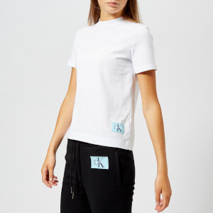 Calvin Klein Jeans Women's Monogram Logo Badge Boxy Fit T-Shirt - Bright White
