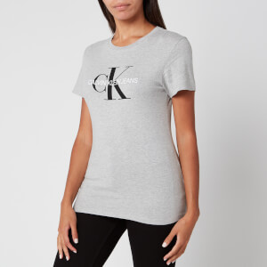 Calvin Klein Jeans Women's Core Monogram Logo Regular Fit T-Shirt - Light Grey Heather