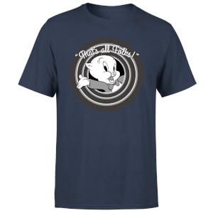 T-Shirt Homme That's All Folks ! Porky Pig Looney Tunes - Bleu Marine