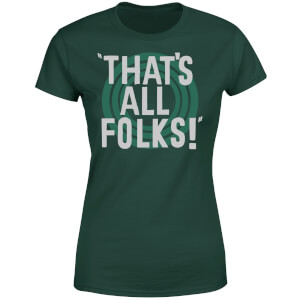 Looney Tunes That's All Folks Women's T-Shirt - Forest Green