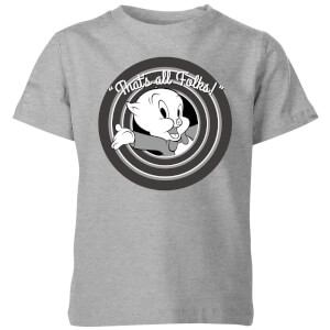 Looney Tunes That's All Folks Schweinchen Dick Kinder T-Shirt - Grau