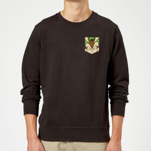 Looney Tunes Wile E Coyote Face Faux Pocket Sweatshirt - Black