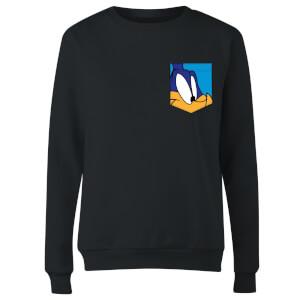 Looney Tunes Road Runner Face Faux Pocket Women's Sweatshirt - Black