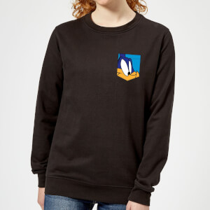 Looney Tunes Road Runner Face Faux Pocket Women's Sweatshirt - Black