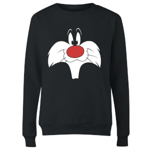 Looney Tunes Sylvester Big Face Women's Sweatshirt - Black
