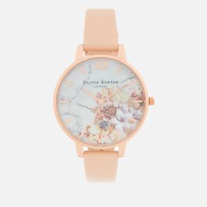 Olivia Burton Women's Marble Florals Watch - Nude Peach/Rose Gold
