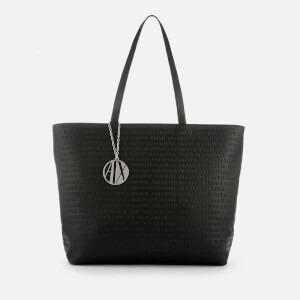 Armani Exchange Women's All Over Logo Embossed Zip Tote Bag - Black