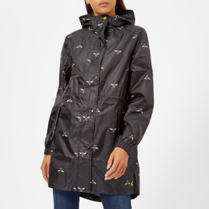 Joules Women's Golightly Waterproof Packaway Coat - Black Botanical Bees