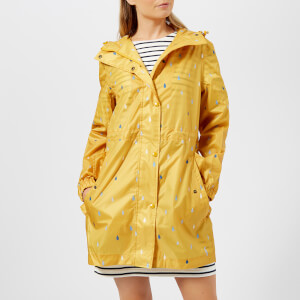 Joules Women's Golightly Waterproof Packaway Coat - Antique Gold Raindrops