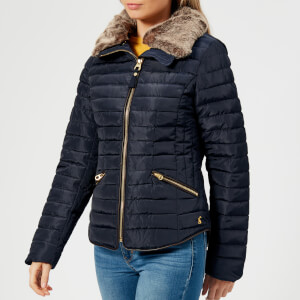 Joules Women's Gosling Short Padded Coat with Faux Fur Trimmed Hood - Navy