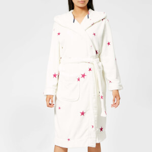 Joules Women's Rita Hooded Fleece Dressing Gown - Cream Fuchsia Star