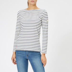 Joules Women's Harbour Jersey Top - Cream Navy Stripe