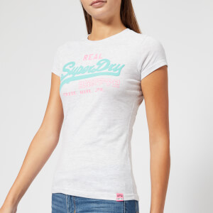 Superdry Women's Vintage Logo Duo Entry T-Shirt - Heather Blaze Grey