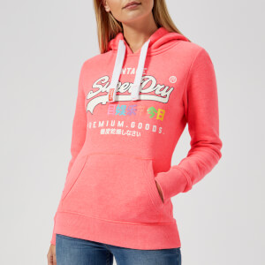 Superdry Women's Vintage Logo Tropical Entry Hoody - Flaming Coral Marl