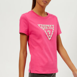 Guess Women's Short Sleeve Crew Neck Stone and Bead T-Shirt - Raquel Rose