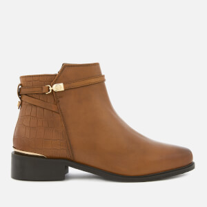 Dune Women's Peppey Leather Flat Ankle Boots - Tan