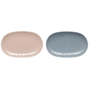 Denby Monsoon Gather Set Of 2 Small Platters - Blue/Pink