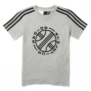 adidas Boys ID Winner Short Sleeve T-Shirt - Medium Grey Heather