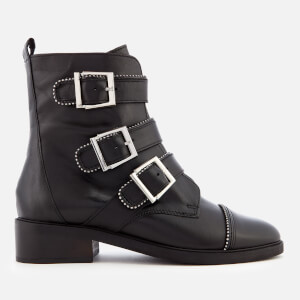 Carvela Women's Sparse Leather Buckle Biker Boots - Black