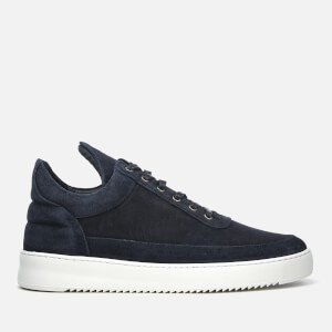 Filling Pieces Men's Waxed Suede Low Top Trainers - Navy Blue