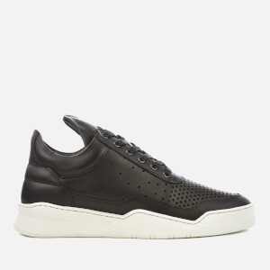 Filling Pieces Men's Gradient Perforated Leather Low Top Trainers - Black/White
