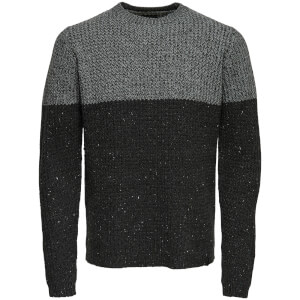 Only & Sons Men's Lazlo Nep Blocked Jumper - Mid Grey Marl