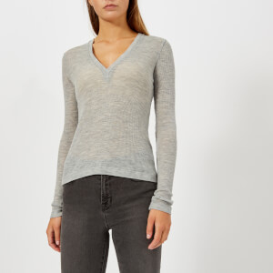 T by Alexander Wang Women's Sheer Wooly Rib Deep V-Neck Long Sleeve Top - Heather Grey