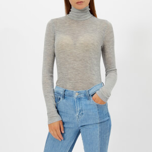 T by Alexander Wang Women's Sheer Wooly Rib Long Sleeve Fitted Turtleneck Jumper - Heather Grey