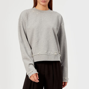 T by Alexander Wang Women's Dry French Terry Distressed Sweatshirt - Heather Grey