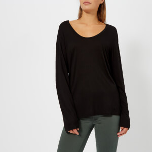 T by Alexander Wang Women's Drapey Jersey Long Sleeve T-Shirt with Darting Detail - Black
