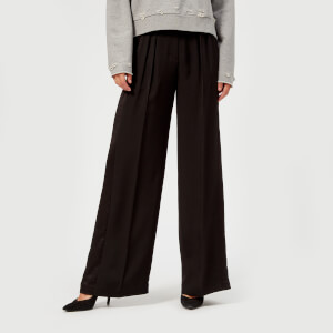 T by Alexander Wang Women's Draped Twill Suiting Wide Leg Pants - Black