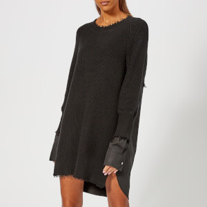 T by Alexander Wang Women's Hybrid Meets Varsity Sweater Dress with Poplin Combo - Black