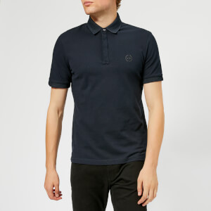 Armani Exchange Men's Waffle Collar Slim Polo Shirt - Navy