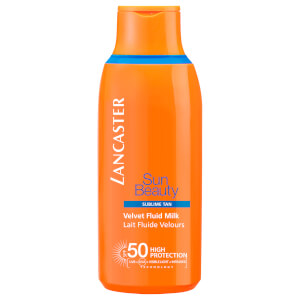 Leite com FPS 50 Sun Beauty Velvet Fluid da Lancaster 175 ml