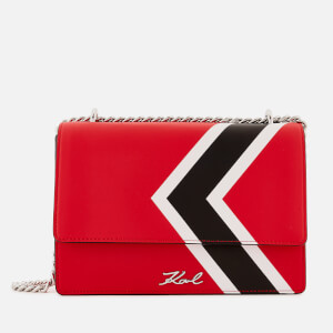 Karl Lagerfeld Women's K/Stripes Shoulder Bag - Red