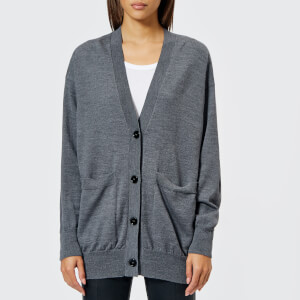 MM6 Maison Margiela Women's Wool Cardigan with Elbow Patches - Grey Melange